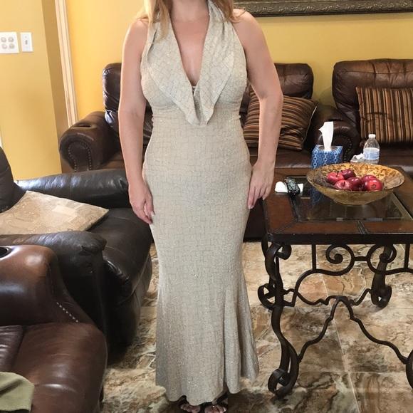 Bari Jay Dresses Beige And Gold Glitter Prom Dress Poshmark